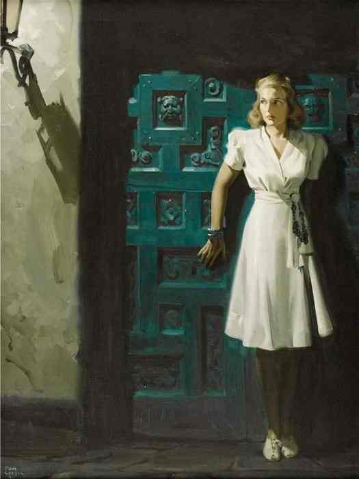 Tom Lovell Panama Threat, illustration for story in Woman's Home Companion ,1941 blue door