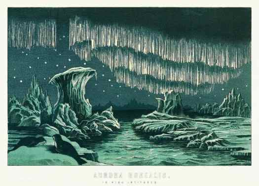 Aurora Borealis in High Latitudes. from the book William MacKenzie's National Encyclopedia (1891), a colored illustration of the beautiful polar lights in the night sky