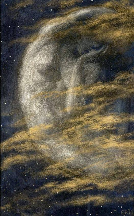 British painter Edward Robert Hughes painting of a naked woman posed as crescent moon in night sky