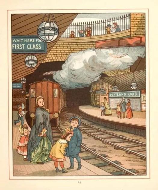 Walter Crane 1845 - 1915 London Town Train Station First Class 1883