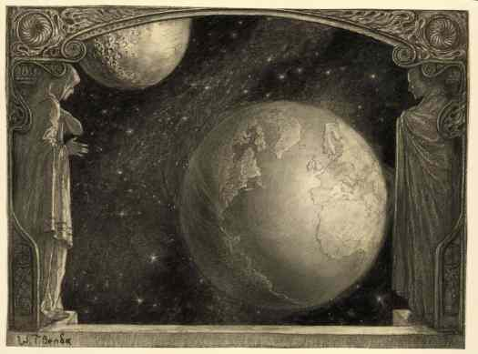 Władysław Teodor 'W.T.' Benda (Polish, 1873-1948) The Earth and Milky Way and Moon 1918