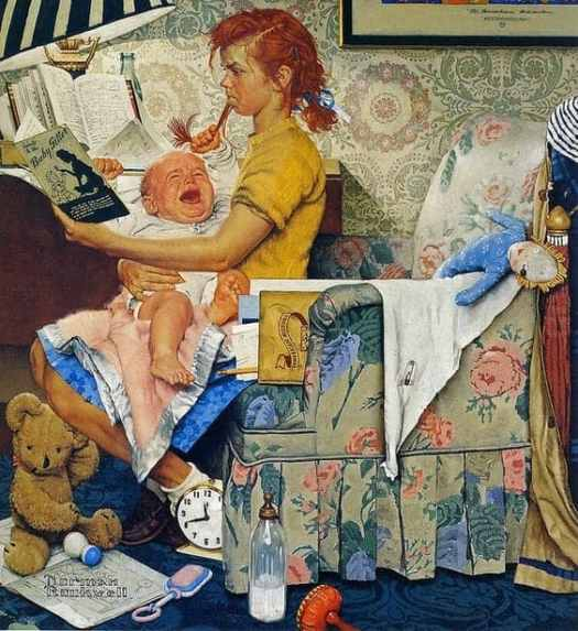 1947 The Babysitter Norman Rockwell. Girls struggle just as much to do the things society expects of them.
