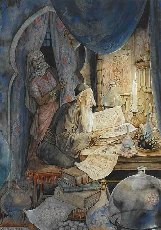 Anton Pieck  Illustration for 'The Arabian Nights'; The 27st Night, The Story of the Jewish Doctor