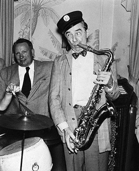Here's a photograph of Bela Lugosi playing the saxophone. We remember him now as a Goth-like figure but he wasn't really.