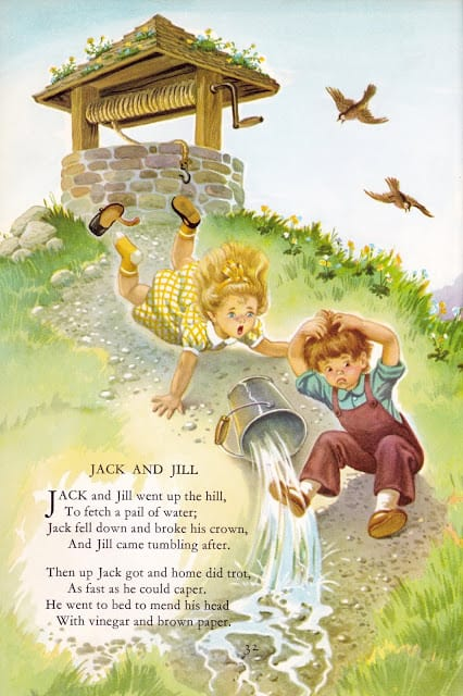 Childrcraft Poems of Early Childhood, edited by J. Morris Jones Jack and Jill well illustration by Milo Winter 1954