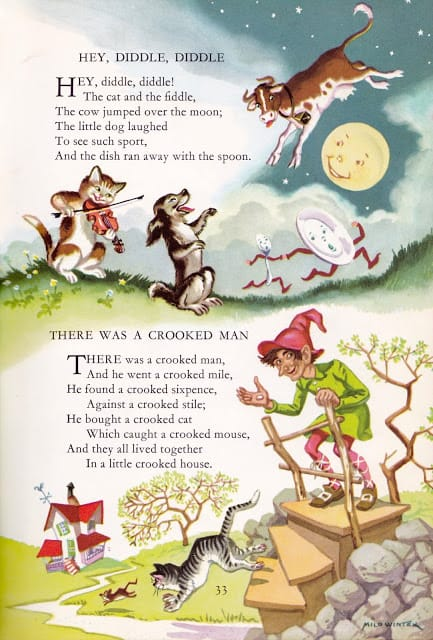 Childrcraft Poems of Early Childhood, edited by J. Morris Jones There Was A Crooked Man, illustration by Milo Winter 1954