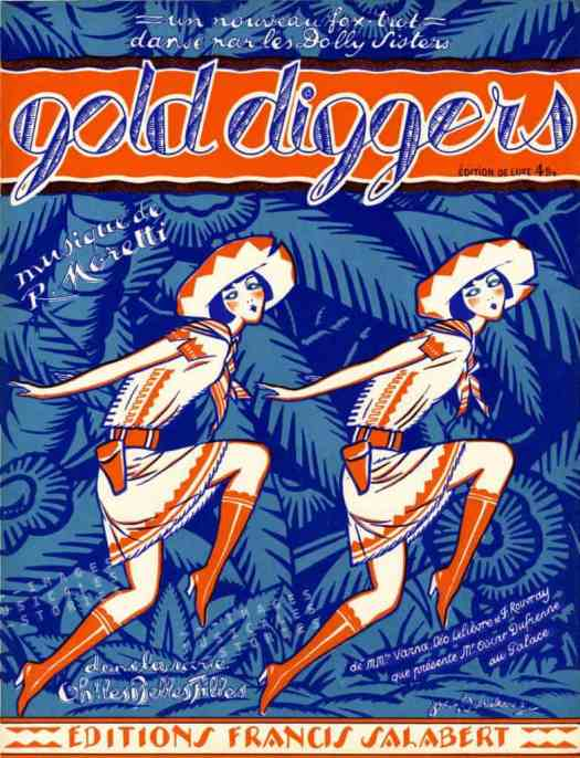 Gold Diggers - Sheet Music Cover - art by Jacques Boullaire - 1929 (The Dolly Sisters)