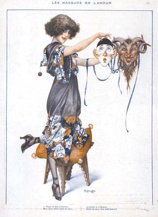 Illustration for the French magazine ′La Vie Parisienne′ by Chéri Hérouard (1881-1961) masks