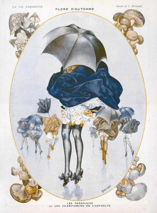 Illustration for the French magazine ′La Vie Parisienne′ by Chéri Hérouard (1881-1961) wind lifting skirt