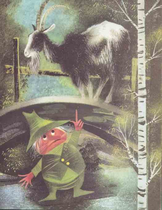 The Big Book of Nursery Tales retold by Evelyn Andreas illustrated by Leonard Weisgard (1954) three billy goats gruff
