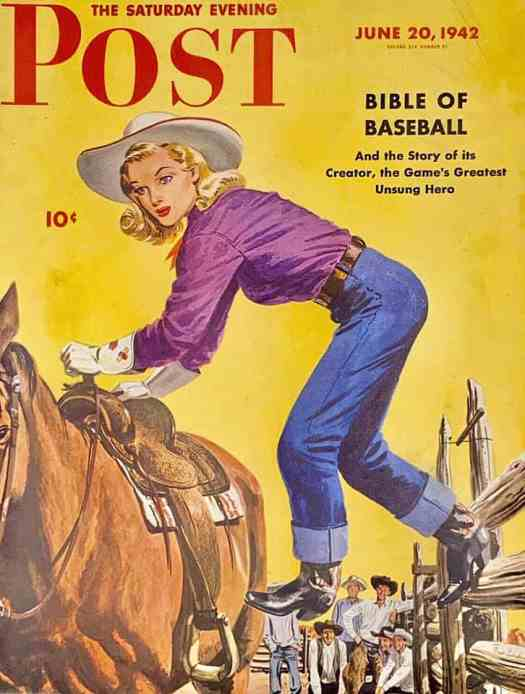 1942 Saturday Evening Post Cover, Woman Rider at Dude Ranch by Fred Ludekens