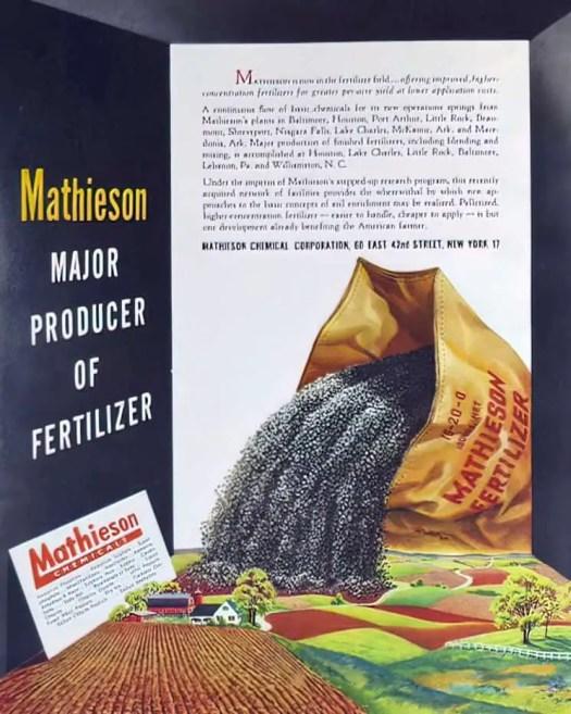 1949 July, Advertisement for Mathieson Chemicals fertilizer