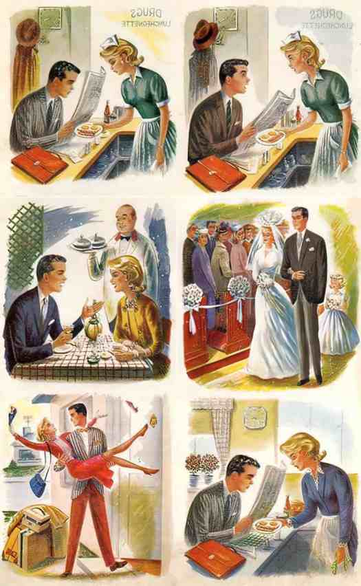 1959, Endless Cycle, art by Constantin Alajalov. No coincidence that domestic stories aimed at girls and women tend to be circular.