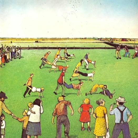 A PRAIRIE BOY'S SUMMER (1975) William Kurelek wheelbarrow race