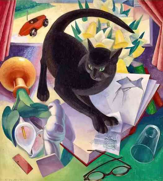 Agnes Miller Parker, (1895-1980), an English illustrator, wood engraver, painter in oils and tempera The Uncivilised Cat 1930