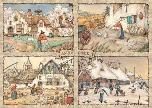 Anton Pieck's illustrations for the four seasons in the Netherlands wheel on the chimney