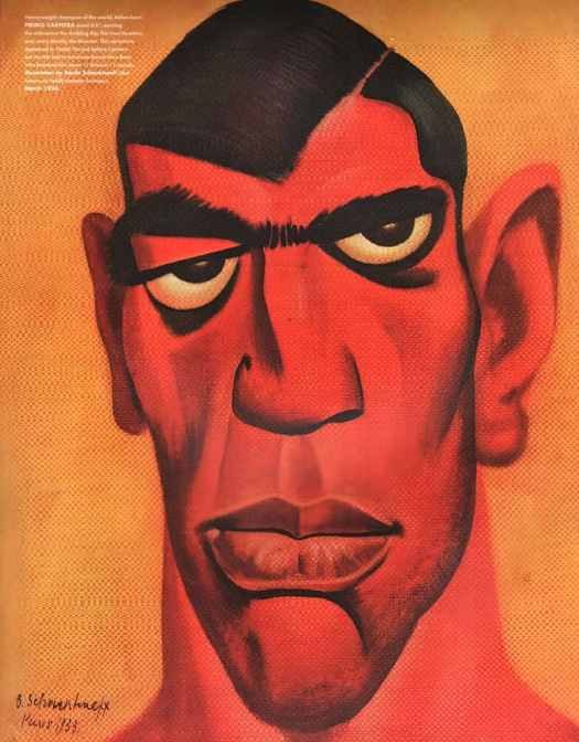 Caricature of heavyweight champion Primo Carnera, 'The Ambling Alp' for a 1934 issue of Vanity Fair