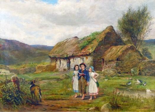 Carlton Alfred Smith - Three Children and a Dog Beside a Scottish Croft 1878