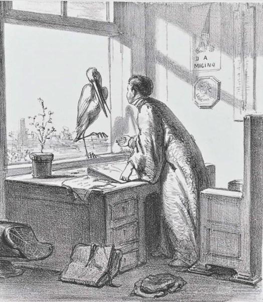 Cartoon with a stork and Buys Ballot, 1863, Johan Michaël Schmidt Crans, 1863