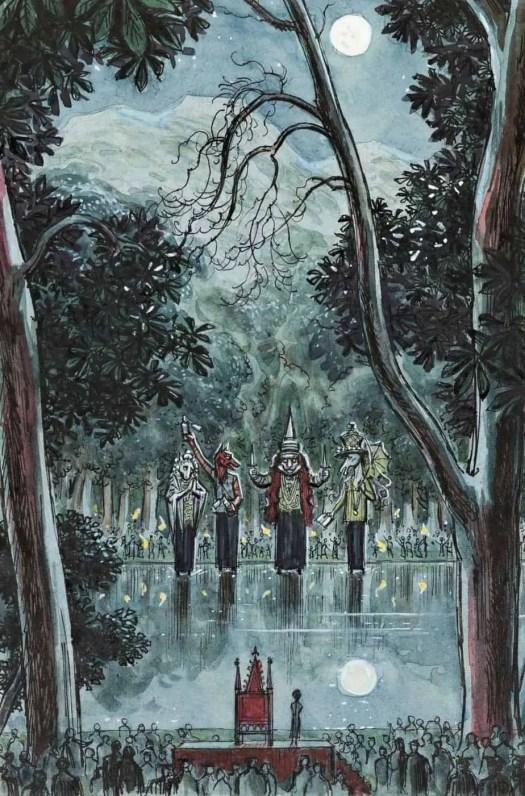 Charles W. Stewart (1915 - 2001) 1974 unpublished illustration Titus's Tenth Birthday for Mervyn Peake's Gormenghast