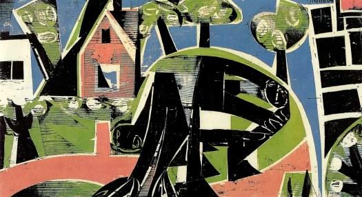 Deutsche Landschaft HAP (Helmut Andreas Paul) Grieshaber,1953, large format woodcut