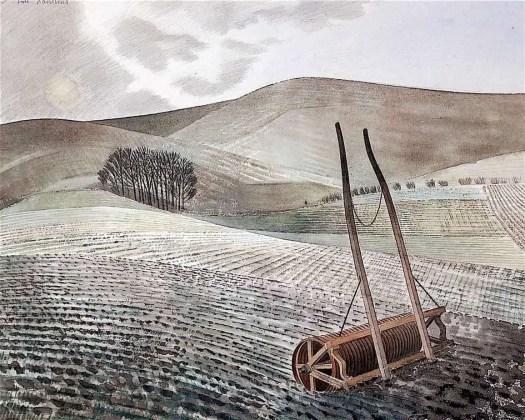 Eric Ravilious, (British ,1903 - 1942) Downs in Winter, 1934
