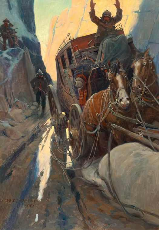 Hands Up! aka Holdup in the Canyon. illustration by N.C. Wyeth (1906) for 'The Story of Montana' in McClure's Magazine by C.P. Connolly
