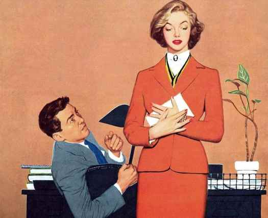 """Harry Zelinski Illustration for the story """"You Have To Be In The Mood"""" by Elizabeth Troy in Woman Magazine, 1953. A man leans back in his desk chair and looks up at an attractive woman holding a letter to her chest."""