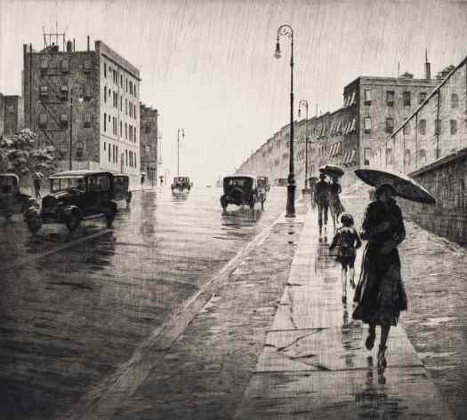 Martin Lewis (1881 - 1962) 1931 illustration Rainy Day In Queens