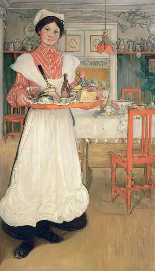 Carl Larsson Martina Carrying Breakfast on a Tray 1904