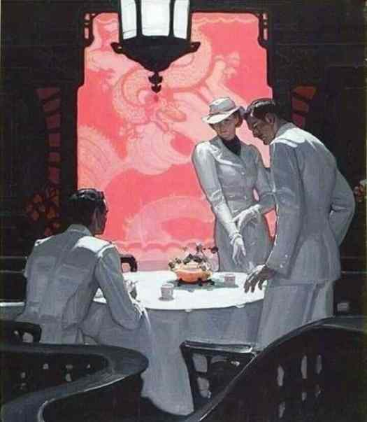 Mead Schaeffer (1898 - 1980). A woman and two men, all in white suits, are in a restaurant.
