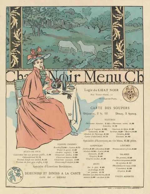 Menu Chat Noir George Auriol, c. 1899