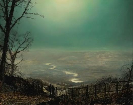 'Moonlight, Wharfedale', John Atkinson Grimshaw, oil on card, 1870s