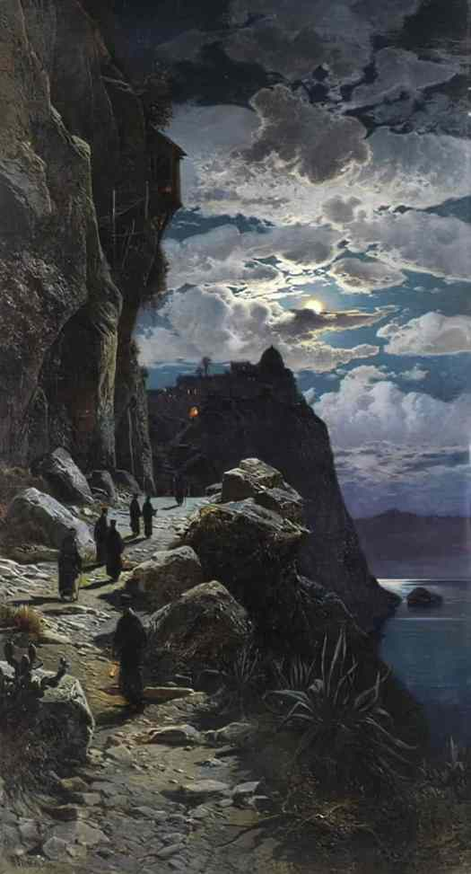 Nightly Walk of the Monks to the Mountain Monastery Athos by Hermann Corrodi, oil on canvas, 1888