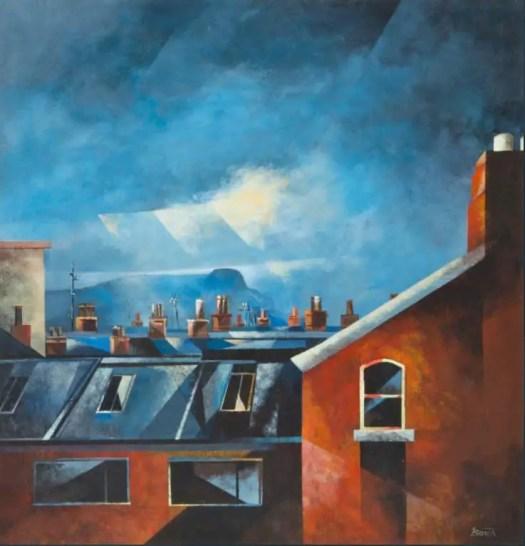 'Summer Sunday, Belfast' by Lawson Burch, acrylic on board, 20th century