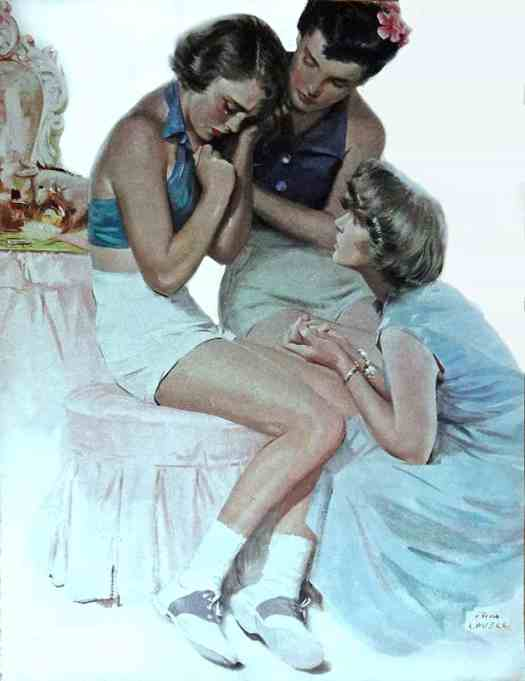 Tom Lovell, 50's Color Illustration,print art (woman crying, what has kindness got to do with it) 1952 Collier's Magazine