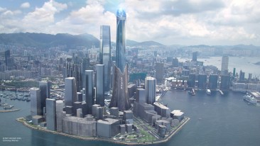 Stark Tower in Iron Man Experience Coming to Hong Kong Disneyland Ð Stark Tower joins the Hong Kong skyline in the Iron Man Experience attraction coming to Hong Kong Disneyland in late 2016. This first-of-its kind, E-ticket attraction will include a storyline that takes place in the streets and skies of Hong Kong as guests take flight with Iron Man on an epic adventure that pits Iron Man, along with guests, against the forces of evil. (Disney Parks)