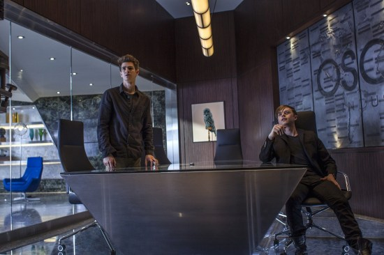 Andrew Garfield as Peter Parker and Dane DeHaan as Harry Osborn in The Amazing Spider-Man 2