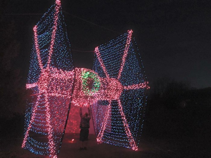 Christmas light tie fighter