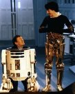 Kenny Baker and Anthony Daniels on Star Wars Return of the Jedi set