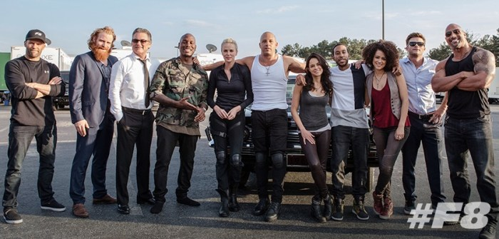 The Fate of the Furious Super Bowl spot / BTS group shot