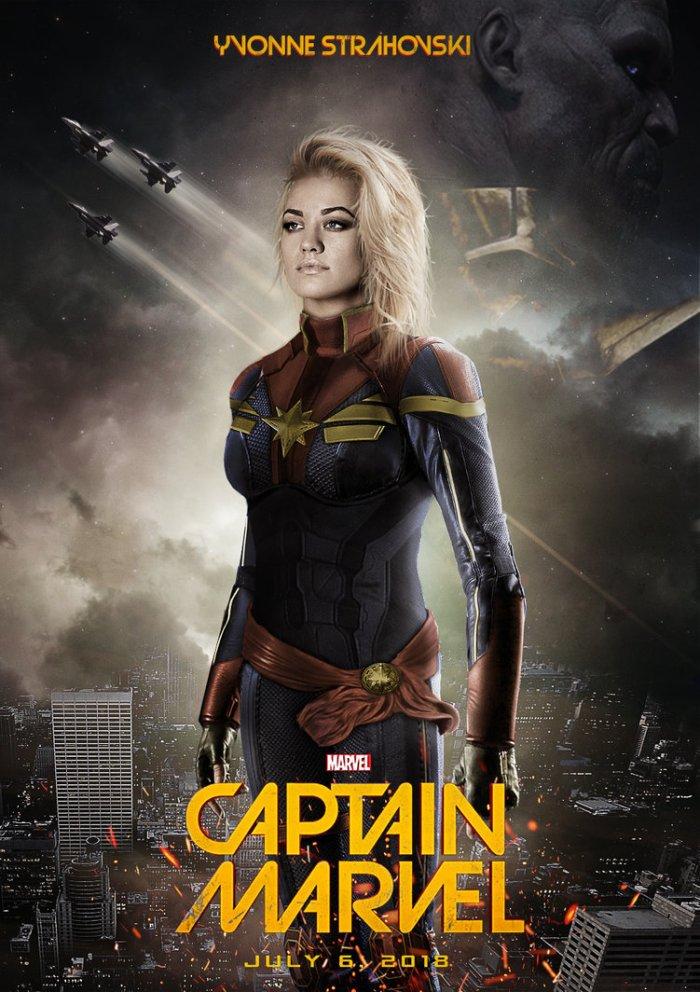Yvonne Strahovski as Captain Marvel (fanart)