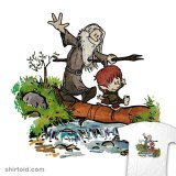 Gandalf and Bilbo in the style of Calvin and Hobbes t-shirt