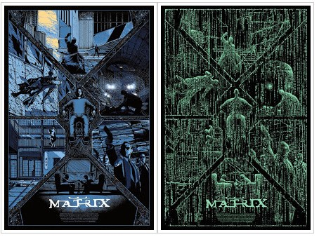 The Matrix poster with glow in the dark overlay by Kilian Eng.