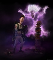 CGI Ghostbusters: Egon Spengler with creepy librarian ghost
