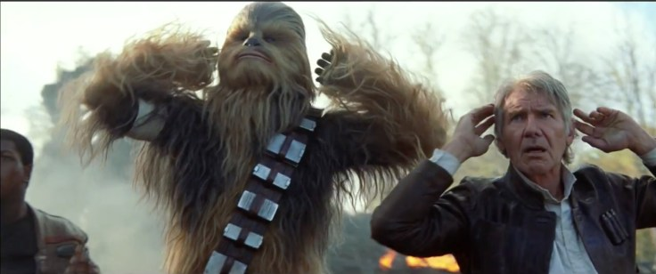 finn, chewbaccas and han solo surrender Star Wars: the force Awakens