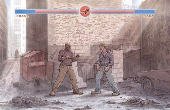 """PJ McQuade's newest print, """"They Live: Alley Fight""""."""