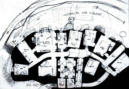 A floor plan of Bag End made by WETA