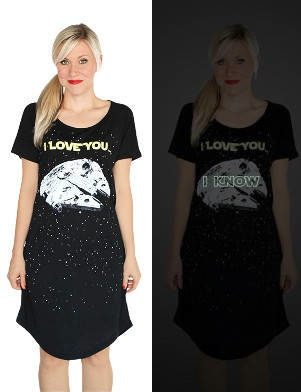 I Love You/I Know Star Wars nightshirt with hidden glow-in-the-dark message