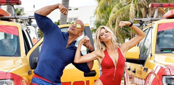 Kelly Rohrbach and Dwayne Johnson in Baywatch